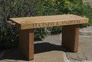 Personalised Solid Oak Bench - gardener
