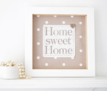 Home Sweet Home - Taupe spotty fabric