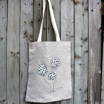 Handmade linen shopping bag