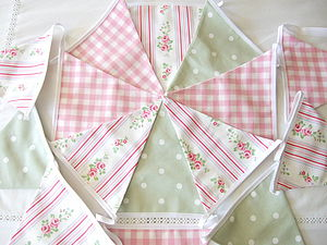 Floral Stripe Bunting - bedroom