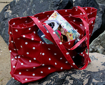 Beach Bag Oilcloth Issy Red Spot