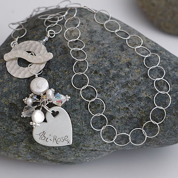 Personalised Silver Toggle Charm Necklace