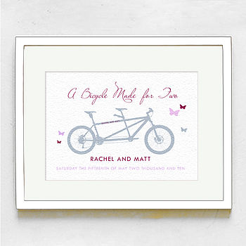 Personalised Tandem Wedding Day Print