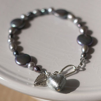 Dark Grey and Silver Pearl Heart Bracelet