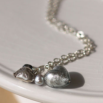 Dark Silver Heart Dangle Necklace