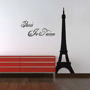 Eiffel Tower 'Paris Je T'aime' Wall Sticker Quote