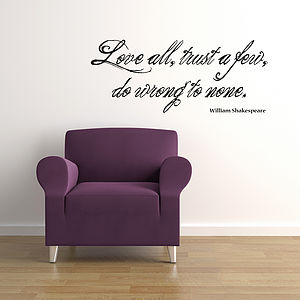 'Love all' Shakespeare Wall Sticker Quote - wall stickers