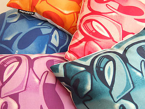 Graffiti Graphic Silk Cushion