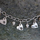 Personalised Hearts and Flowers Charm Necklace detail