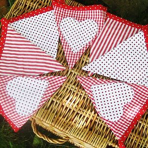 Red Gingham And Heart Christmas Bunting - garlands & bunting