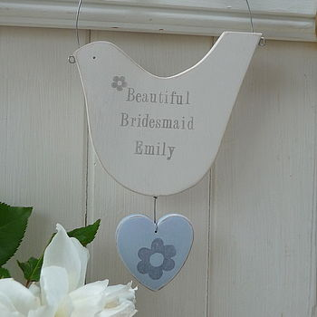 Personalised Hanging Dove With Heart