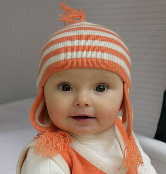 Cashmere Candy Stripe Baby Hat in Peaches