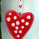 Red, white spot, shaker heart ribbon
