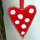 Red, white spot, red spotty ribbon