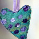 Green, lilac/purple spot, lilac velvet ribbon