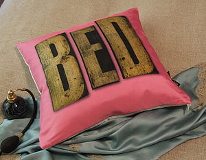 Pink 'Bed' Wooden Lettering Silk Cushion