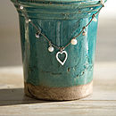 Silver And Pearl Leather Heart Charm Necklace