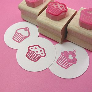 Mini Cupcake Hand Carved Rubber Stamp - card crafting