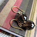 Bauble Gold Earrings with Smokey Quartz
