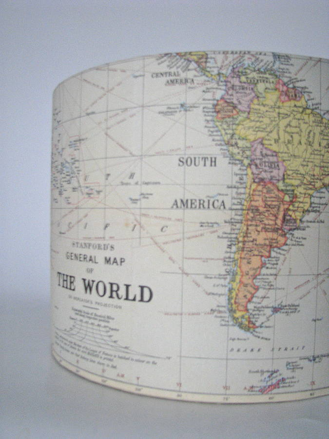 Handmade vintage map lampshade by rosies vintage lampshades world map design reverse gumiabroncs Images