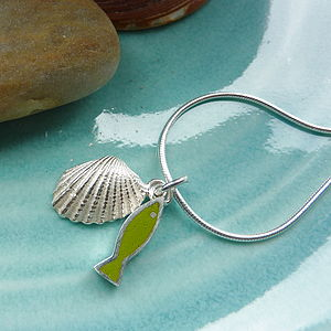 Silver Shell And Fish Pendant