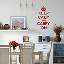 Keep Calm and Carry On Wall Sticker Quote