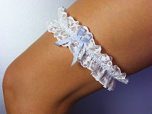 Lucille Vintage Ivory Lace Silk Bow Wedding Garter - the morning of the big day