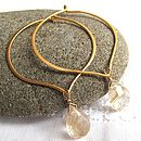 Lotus hoop gold with rutilated quartz