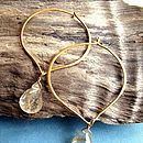 Lotus Gold Hoop with Rutilated Quartz