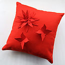 All red butterfly lily cushion