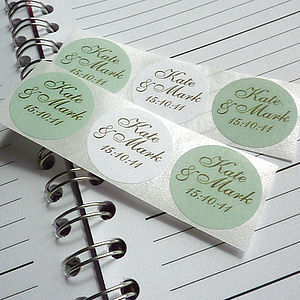 Personalised Save the Date Stickers - wedding favours