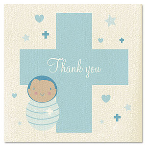 Boys Thank You Christening Card