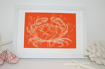 A4 Fine Art print-Orange crab in white frame