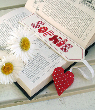 Red bookmark with polka dot heart