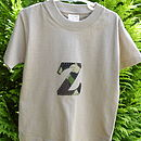 Sand t-shirt with camoflage initial