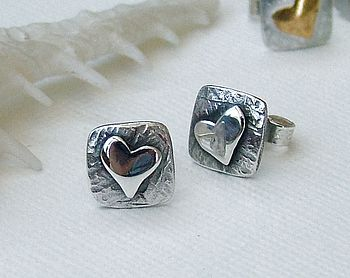Heart square studs