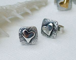 Square Silver Heart Earrings - earrings