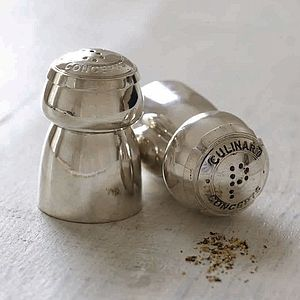 Champagne Cruet Set - salt & pepper pots