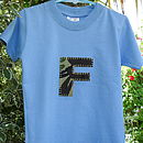 Blue t-shirt with camoflage initial