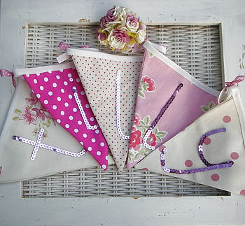 Girls personalised bunting pinks