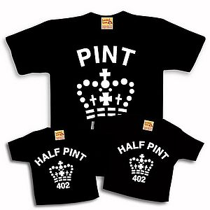 'Pint' and 'Half Pint' Short Sleeve Trio Set - babies' t-shirts