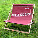 Vintage style tan recycled sailcloth double deckchair, 2 names