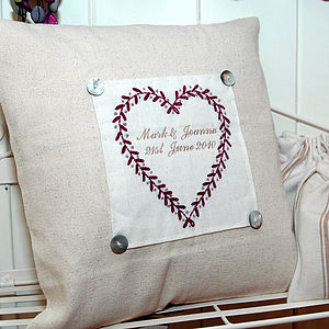 Personalised Embroidered Heart Cushion - cushions