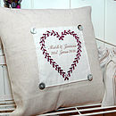 Personalised Embroidered Heart Cushion