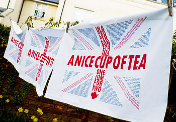 Union Jack Text Tea Towel