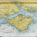 Nautical Seaside Solent Chart Tray Large