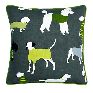 Lime Dogs Cushion