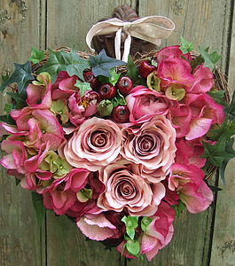 Faux Rose, Hydranger and Cherry Heart - flowers & plants