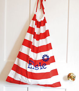 Personalised Stripy Laundry Bag - bedroom