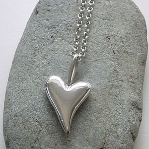 Chunky Big Solid Silver Heart Pendant - necklaces & pendants